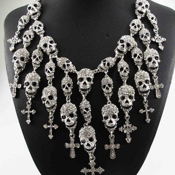 Punk Goth Statement Necklace Skeleton Skull Cross Jewelry crystal Choker Pendant