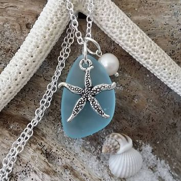 Handmade in Hawaii, Turquoise Bay blue sea glass necklace, Starfish charm, Sterling silver chain, gift box, Hawaiian gift,