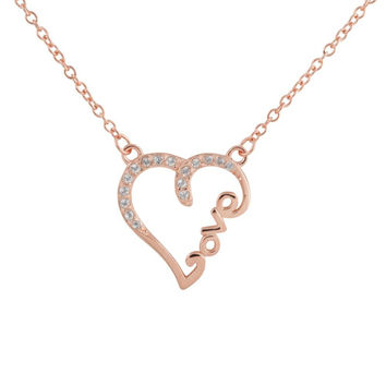 """Sterling Silver 14k Rose Gold Plated Diamond Accent """"LOVE"""" Heart Necklace, 18"""""""