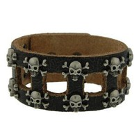 Genuine Leather Skull & Bones Black Vintage Biker Bracelet: Jewelry: Amazon.com