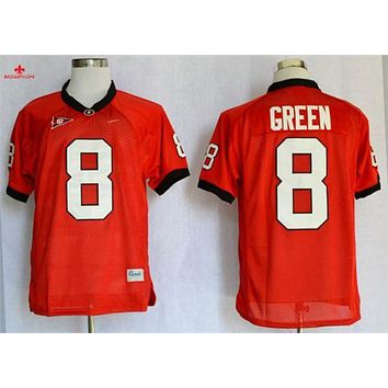 Original Nike Georgia Bulldogs A.J Green 8 College Jerseys - Red Size M,L,XL,2XL,3XL