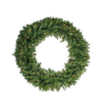 "36"" Pre-Lit Northern Pine Artificial Christmas Wreath - Clear Lights"