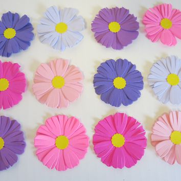 "12 Pink and Purple Asters, 2"" Handmade Paper Flowers, Feminine Colors, September Birthday"