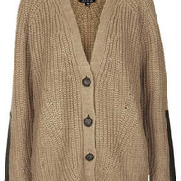 KNITTED PU PATCH RIB CARDI