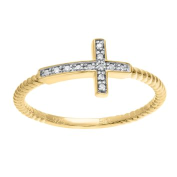 .04 cttw White Diamond Sideways Cross Yellow Plated Sterling Silver Ring