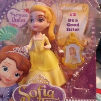 """Princess Amber ~3"""" - Disney Sofia the First Mini-Doll Series: #3 Be a Good Sister by Mattel"""
