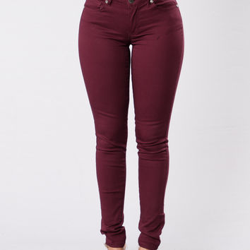 Kayla Pants - Burgundy