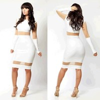 Sexy Club Wear 2015 Ladies Summer Dress Club Dresses Sexy White Bandage Dress Women Work Wear Party Dresses SML