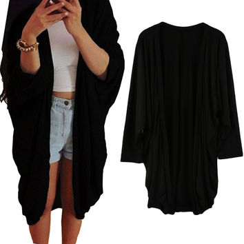 Loose Fitting Open Front Elongated Hemline Cardigan