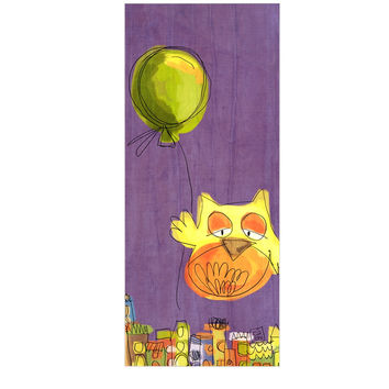 "Carina Povarchik ""Owl Balloon"" Purple Orange Luxe Rectangle Panel"
