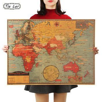 Large World Geography Map Wall Sticker Art Bedroom Home Decoration Wall Sticker Poster