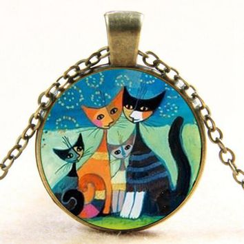 New Fashion Cat Family Art Glass Dome Pendant Necklace Lovely Cat Jewelry Necklaces For Women's Gifts drop shopping YLQ0999