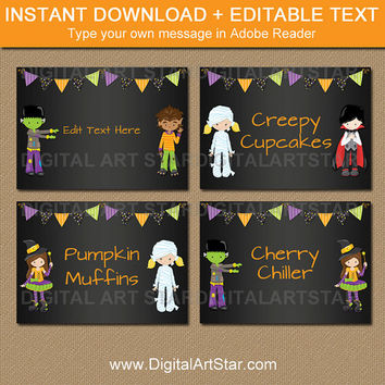 Printable Halloween Candy Buffet Labels - Halloween Chalkboard Buffet Cards - Kids Halloween Food Labels Editable Halloween Tent Cards HCBK