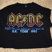 Sale!! Forever 21 ACDC U.K Tour 1982 For Those About To Rock women's crop top tee shirt