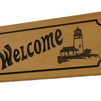 Lighthouse Welcome Sign - Wood Welcome Sign - Carved Wood Sign - Lake House Decor - Home Decor - Cabin Decor