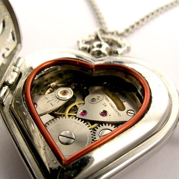 Steampunk Heart Locket Pendant w/ vintage watch - Large filigree heart Necklace