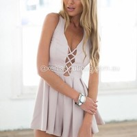 Blessed Playsuit (Nude) | Xenia Boutique | Women's fashion for Less - Fast Shipping