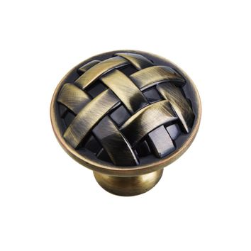 """Utopia Alley Basket Weave Antique Brass Cabinet Knob Or Handle Pull, 5"""" Center Pull"""
