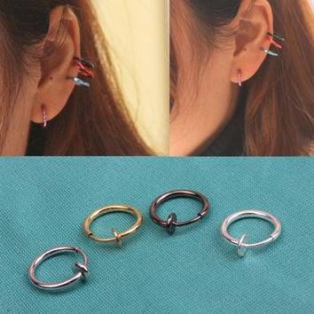 Hot Sale 8 Pcs Fashion Punk Clip On Fake Piercing Nose Lip Hoop Rings Earrings Diy Accessories EAR-0139