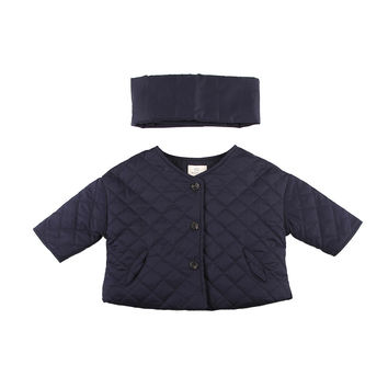 Cropped Down Quilted Jacket Navy W/Muffler