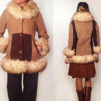 Vintage 1970's Shearling Penny Lane Almost Famous Suede Patchwork Coat || Size Extra Small to Small XS S