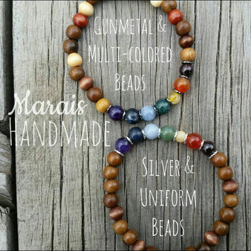 Chakra semi-precious gemstone bracelet - gemstones and wood bracelets with or without tassels