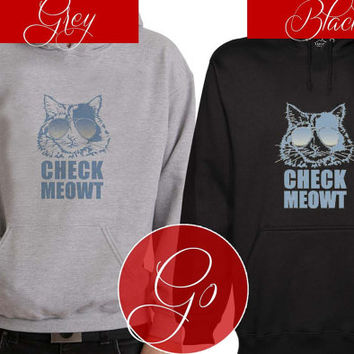 Chect Meowt Sun Glasses Hoodie Sweatshirt Sweater Shirt black and white Unisex
