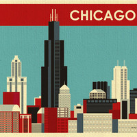 Chicago, Illinois Skyline -  Destination Wall Art Print for Home, Office, and Nursery - style E8-O-CH12