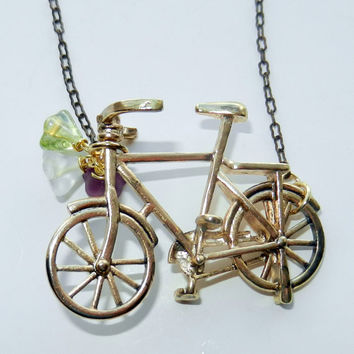 Gold and Brass Bicycle Charm Necklace with Flower Detail