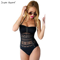 Summer style crochet lace one piece bodysuit Women bathing suit high waist swimwear Sexy bodysuit hollow out padded monokini