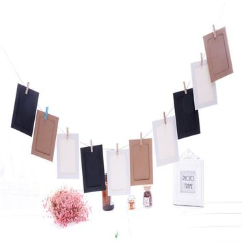 Wall Deco DIY Creative Mini Paper Photo Frame Mini Colored Clothespins Twine 2017 Leather Multicolor Picture Album Kraft Home