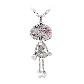 Crystal Girl Pendant Necklace (Silver)