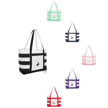 DALIX Beach Ball Striped Tote Bag Canvas Shoulder Bags for Women Work Totes