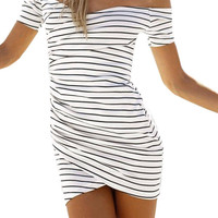 Off-Shoulder Short Sleeve Striped Dress in White not available