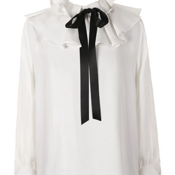 White Ruffle Detail Tie Front Long Sleeve Blouse