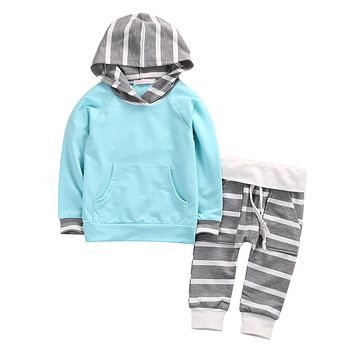 Newborn Toddler Baby Girls Boy Striped Hooded Tops Sweatshirt Pants Outfits