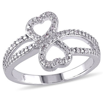 1/10 CT. T.W. Diamond Heart-Shaped Infinity Ring in Sterling Silver