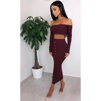So Sultry Long Sleeve Off The Shoulder Ribbed Button Crop Top Bodycon Two Piece Casual Midi Dress - 4 Colors Available