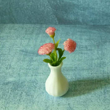 Carnation flower pink Faux floral in mini vase ceramic Miniature flowers Dollhouse miniature, miniature plants, Dollhouse decorating