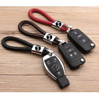 Business Keychain Braided Genuine Leather Zinc Alloy Key Chain Car Key Ring For Mercedes-Benz For AUDI FOR BMW FOR Porsche