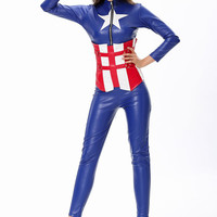 Blue Long Sleeve Jumpsuit Captain America Costume