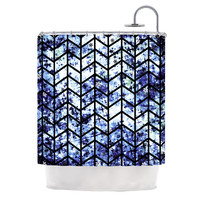 "Ebi Emporium ""Chevron Wonderland II"" Blue Black Shower Curtain"