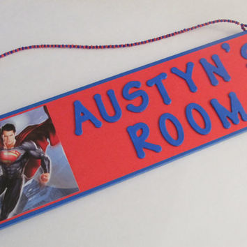 Superman Personalized Name Room Decor Sign - Super Man Room Decor - Superman Wall Decor