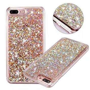CREYV2S iPhone 7 Plus Glitter Case, NOKEA hard Rubber Flowing Liquid Floating Luxury Bling Glitter Sparkle Flexible Protective Shell Bumper Case Cover for iPhone 7 Plus 5.5inch (Rose Gold#6)