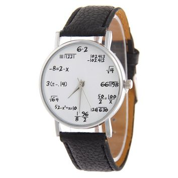 New Fashion Maths Formula Watch Popular Lovers Wrist Watches Leather Watchband Women Personalized Clock For Ladies Watch