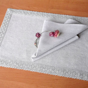 Dinner table set of cloth napkin and placemat with lace trimming Light grey linen cotton blend fabric party table setting