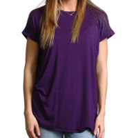 Dark Purple Rolled Sleeve Piko Short Sleeve Top