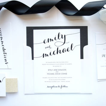 Gold and Black Calligraphy Wedding Invitation - DEPOSIT