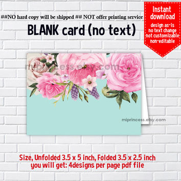Instant Download, blank Card,  pink floral #1156 1157, food tent Card, place card, 3.5x2.5inch printable , non-editable NOT CUSTOMIZABLE