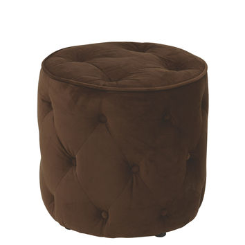 Office Star Curves Tufted Round Ottoman in Chocolate Velvet [CVS905-C12]